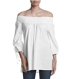 Melissa Paige Smocked Off Shoulder Peasant Top