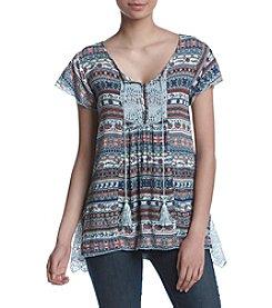 Oneworld® Lace Printed Tassel Blouse