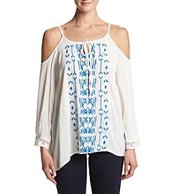 Hippie Laundry Embroidered Cold Shoulder Top