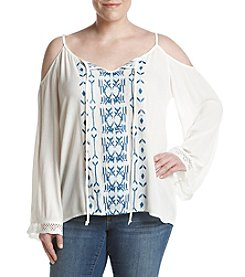 Hippie Laundry Plus Size Embroidered Cold Shoulder Top