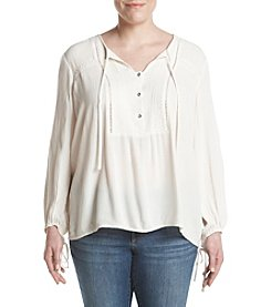 Jessica Simpson Plus Size Lace-Up Peasant Top