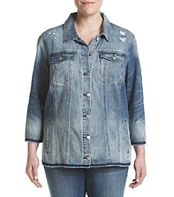 Jessica Simpson Plus Size Embroidered Denim Jacket