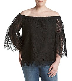 Jessica Simpson Plus Size Lace Off-Shoulder Top