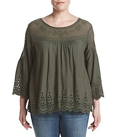 Jessica Simpson Plus Size Crochet Trim Peasant Top