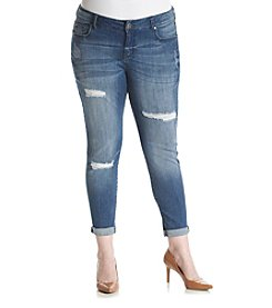 Celebrity Pink Plus Size Destructed Cuff Ankle Skinny Jeans