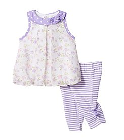 Cuddle Bear® Baby Girls' 2-Piece Flower Top And Striped Capri Set