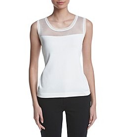 Anne Klein® Sheer Yoke Shell Sweater