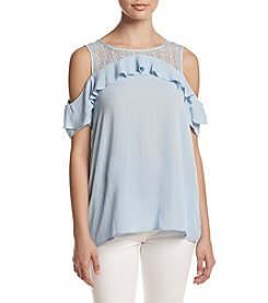 AGB® Lace Ruffled Cold Shoulder Top
