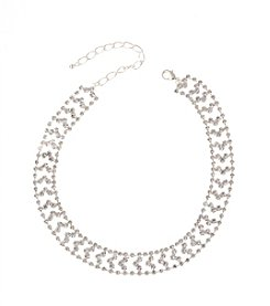BT-Jeweled Clear Rhinestone Chevron Choker Necklace