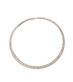 BT-Jeweled Clear Rhinestone Two Row Choker Necklace