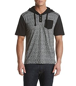 Distortion® Men's Heathered Short Sleeve Hooded Henley