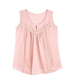 Miss Attitude Girls' 7-16 Lace Trim Top
