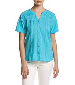 Breckenridge® Petites' Lace Inset Split Neck Knit Top