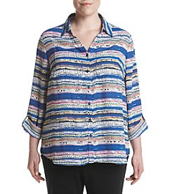 Relativity® Plus Size Stripe Utility Shirt