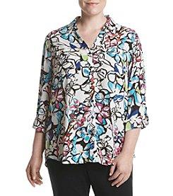 Relativity® Plus Size Floral Utility Shirt