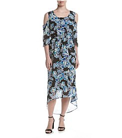 Relativity® Floral Cold-Shoulder Maxi Dress