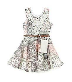 Beautees Girls' 7-16 Belted Lace Dress