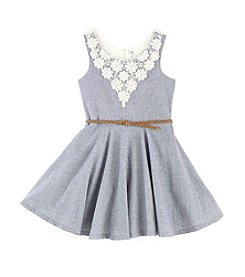Beautees Girls' 7-16 Lace Back Denim Dress