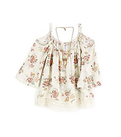 Beautees Girls' 7-16 Lace Cold Shoulder Top