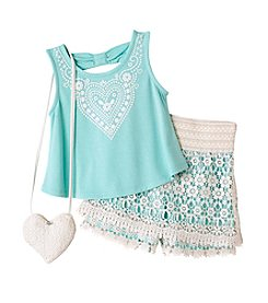 Beautees Girls' 4-6X 3-Piece Top Shorts Set