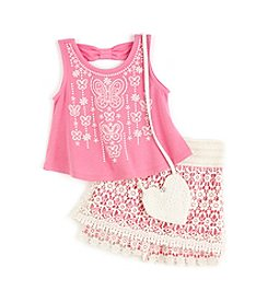 Beautees Girls' 4-6X 2-Piece Top And Shorts Set