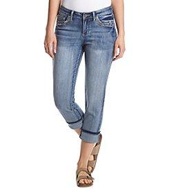 Earl Jean® Paisley Bling Patch Back Pocket Capri Pants