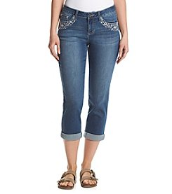 Earl Jean® Daisy Embellished Flap Back Pocket Capri Pants