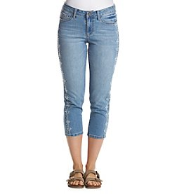 Earl Jean® Tonal Leg Embroidery Capri Pants