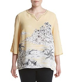 Alfred Dunner® Plus Size Seas The Day Woven Scenic Print Top