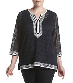Alfred Dunner® Plus Size Seas The Day Knit Lace Trim Tunic Top