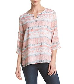 Alfred Dunner® Petites' Watercolor Biadere Top