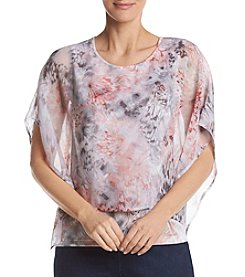 Alfred Dunner® Petites' Butterfly Print Woven Poncho
