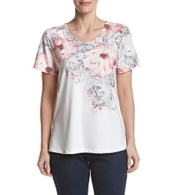 Alfred Dunner® Petites' Scroll Floral Knit Top