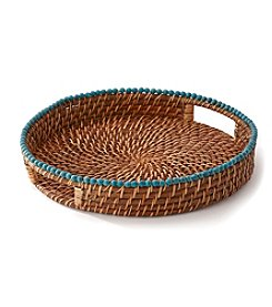 LivingQuarters Old Havana Round Rattan Serving Tray