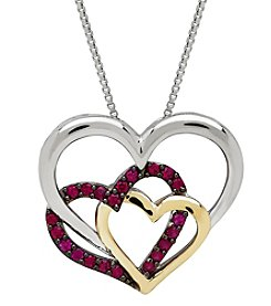 Sterling Silver and 14K Yellow Gold Created Ruby Heart Pendant