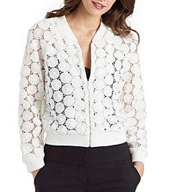 XOXO® Daisy Crochet Bomber Jacket