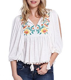 Skylar & Jade™ Embroidered Open-Sleeve Peasant Top