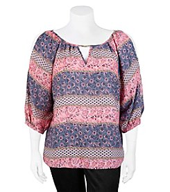 A. Byer Plus Size Floral Stripe Peasant Top