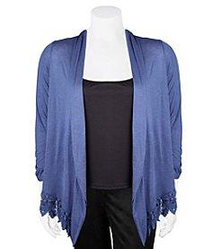 A. Byer Plus Size Lace Hem Cardigan