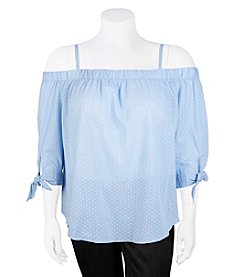 A. Byer Dotted Plus Size Cold-Shoulder Top