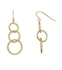 14K Yellow Gold Three Twisted Circle Drop Earring