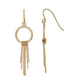 14K Yellow Gold Circle With Wires Drop Earring