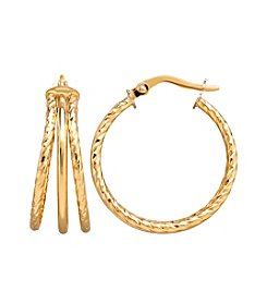 14K Yellow Gold Polished Triple Tube Hoop Twist Earrings