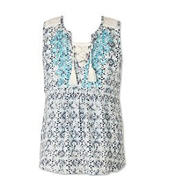 Speechless® Girls' 7-16 Tie Front Printed Top