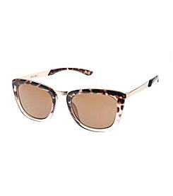 Nine West® Small Plastic Mod Square Single Metal Bridge Sunglasses