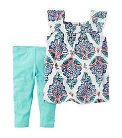 Carter's® Girls' 2T-8 Gauze Flutter Sleeve Top With Leggings Set