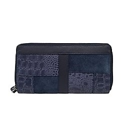 GAL Leather 100% Leather Mixed Media Double Zip Around Large Wallet