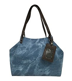 GAL Stone Washed Vinyl Tote With Luggage Tag