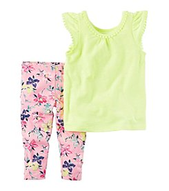 Carter's® Girls' 2T-4T Flutter Sleeve Tank With Floral Leggings Set