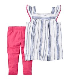 Carter's® Girls' 2T-8 Stripe Linen Top With Solid Pink Leggings Set